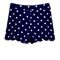 On the Edge Polka Dot Print Scallop Hem Shorts in Navy Blue | Sincerely Sweet Boutique