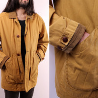 Vintage 90s - Mens - Mustard Brown - Barn Jacket - Field Coat - Button Up - Corduroy Collar - Plaid Lining - J Crew - Outdoors