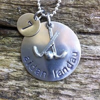 Field hockey team / mom silver necklace