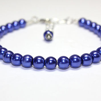 Medium Size Dark Blue Dog Cat Collar. Navy Blue Glass Pearl Dog Collar. For Tiny Dog to Medium Dogs. Lobster Clasp or Magnetic Clasp