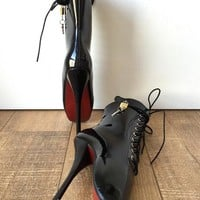 18cm Fetish Lockable Ballet Boots Padlock Contrasting Bottom Sole Restrain Slave