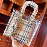 Burberry New fashion plaid transparent shoulder bag handbag