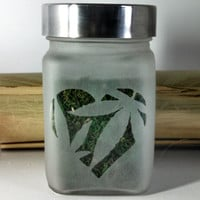 Pot Leaf Heart Etched Glass Stash Jar - Medical Marijuana inspired- Free UPGRADE to Priority Shipping within the US