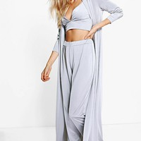 Hilary Slinky Bralet Trouser & Duster Co-ord | Boohoo