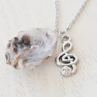 silver treble clef necklace,music note necklace,teacher git,stocking stuffer,music jewelry,G clef,musician friend,geode agate,agate jewelry