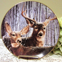 Deer Stag Doe Plate Limited Edition Snowy Alert by Bob Travers Collector Porcelain Fine China blm