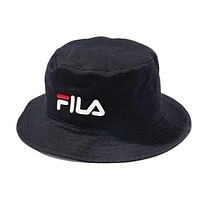 FILA Stylish Women Men Letter Embroidery Shade Sunhat Fisherman Hat Cap Black I12423-1