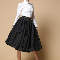 High Neck Lace Ruffle Collar Embroidery White Pleated Cotton Shirt Black Organza Full Skirt with Rose on Waist Victorian Ivory Dress Set