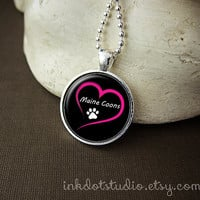 Love Maine Coons Necklace, Maine Coon Cat Breed Pendant, Paw Print Necklace, Cat Lover Gift