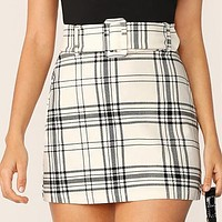 Ladies White Buckle Belted Plaid Skirt Korean Style Women Preppy High Waist Skirt Stretchy Mini Skirt