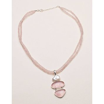 Rose Quartz and Pearl Beaded Necklace - One of a Kind