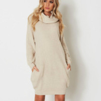 Women's sweater autumn and winter high collar solid color sweater long paragraph hip sweater