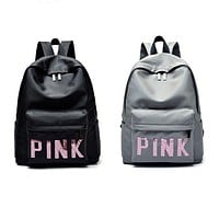 "Victoria's Secret ""Pink"" Letter Print Canvas Sport Laptop Bag Shoulder School Bag Backpack I"