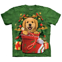 GOLDEN RETRIEVER STOCKING The Mountain Puppy Dog Christmas T-Shirt S-3XL NEW