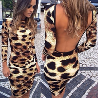 summer 2015 fashion leopard print bodycon bandage backless mini party club dress = 1956772740