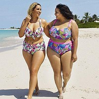 XL-5XL push up plus size women swimwear strip high waist Swimsuit female big chest Bathing Suit Biquini maillot de bain women