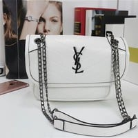 """YSL"" Fashion All-match Stripe Metal Chain Single Shoulder Messenger Bag Women Solid Color Flip Small Square Bag"