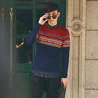 Men's Round Collar Korean Color Matching Knit Sweaters
