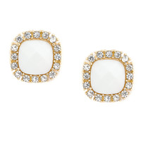 Crystal Framed Ivory Faceted Stone Square Stud Earrings