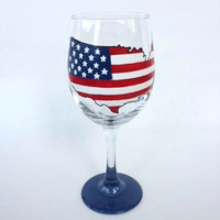 United States Flag Patriotic hand painted wine glass
