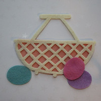 Linen felt wicker style basket with eggs, felt cut out, die cut out, scrapbooking and embellishment, supply, Spring, Easter, ready to ship