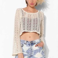 Tela Crochet Bell-Sleeve Cropped Top- Ivory XS