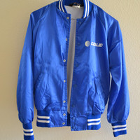 Blue Silk Varsity Bomber Jacket Vintage 90s Oversized Small