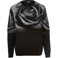 River Island MensBlack Jaded rose print sweatshirt
