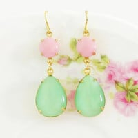 Vintage Mint Green Teardrop Moonstone and Round Pink Glass Jewel Glamour Dangle Earrings