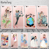 A Girl Summer Outing Travel Relax Beach Transparent Soft Silicone Cases For iPhone 5 5S SE 6 6S Plus 7 Plus Phone Case