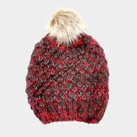 Women's Red Two Tone Cable Knit Fur Pom Pom Beanie Cap Hat
