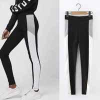 Casual Women's Fashion Yoga Jogging Stripes Patchwork Pants [10384142796]