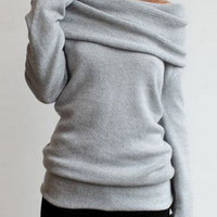 Grey Turtleneck Off-the-shoulder Sweater
