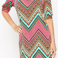 Evening on the Cape Tunic Dress - Pink and Green