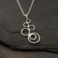 """Silver Circles Necklace- Modern Artisan Pendant -Handmade Sterling Silver Jewelry- """"Cascading Circles Pendant"""""""