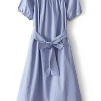 Blue Bow Tie Boat Neck Stripe Slim Dress