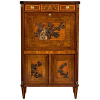 Rare Early 19th Century Dutch Marquetry Inlaid Mahogany Escritoire