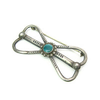 Early Navajo Turquoise Brooch. Drawn Sterling Silver. Bow or Infinity Design, Hand Stamped. Signed EB. Vintage 1930s Native American Jewelry