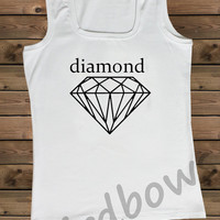 Women's Tank White Diamond on a U Ladies Tank,Screen Printing Tank,Women's Tank,White Tank,Size S, M, L