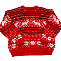 Vintage 90s Red Reindeer Christmas Sweater Mens Size XL