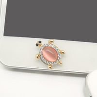 1PC Bling Crystal Pink Cat's Eye Turtle iPhone Home Button Sticker Charm for iPhone 4,4s,4g,5,5c Cell Phone Charm Friend Gift