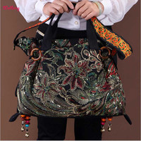 2017 new canvas embroidered women bag national characteristics single messenger bag women's fashion leisure bag crossbody bag