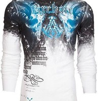 Licensed Official Archaic AFFLICTION Mens THERMAL Shirt NIGHTWATCHER Skulls WHT BLUE Biker UFC $58