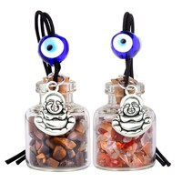 Lucky Happy Buddha Small Car Charms or Home Decor Bottles Carnelian Tiger Eye Protection Amulets