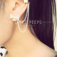 Rhinestone Bow Stud Ear Cuff Set