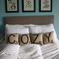 Letter Pillows COZY by shopdirtsa on Etsy
