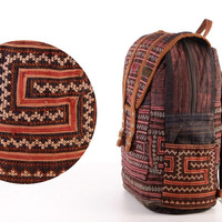 Large Exotic Purple Backpack Vintage Traditional Hand Stitched Textile