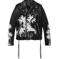 AMIRI - Embellished Hand-Painted Vitellino Leather Biker Jacket