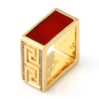 14K Gold Red Onyx Square Ring