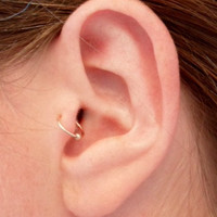 Simple loop Ear cuff, ROSE PINK Gold Filled 14 k with BEAD, Tragus, helix, nose, Lip. Cartilage, fake piercing. No Pierced ear cuff.